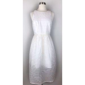 Anthropologie 4C White Striped Overlay Midi Dress